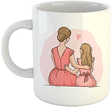 iKraft Coffee Mug | Printed Design – Mom and Daughter Illustration | Cool Mug | Best Gift for Mother's Day, Coffee Cup –