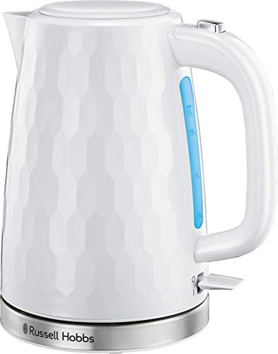 Russell Hobbs 26050 Cordless Electric Kettle - Contemporary Honeycomb Design with Fast Boil and Boil Dry Protection, 1.7 Litre, 3000 W, White