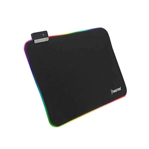 INSTEN - Gaming RGB LED Mouse Pad, Gaming Smooth Low-Friction Fabric with Anti-Slip Rubber Base Mice mat, USB Plug & Play, fits with Optical, Laser Mouse, Black