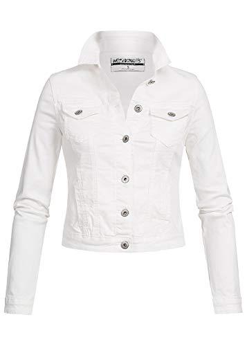 Hailys Damen Jeans Jacke 2 Brusttaschen 2 Taschen Knöpfe Off Weiss, Gr:XL