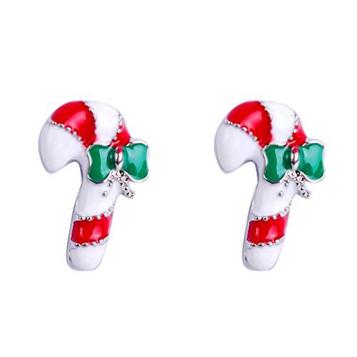 Ruby569y Boucles d'oreilles pendantes pour femmes et filles - Flocon de neige et sucre d'orge - Bijoux de fête de Noël - 3