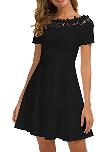 MSLG Floral Lace Dresses Summer Women's 1940s 50s Style Pinup Off The Shoulder Scalloped Homecoming Swing Tea Dress for a Wedding 936 Black XL