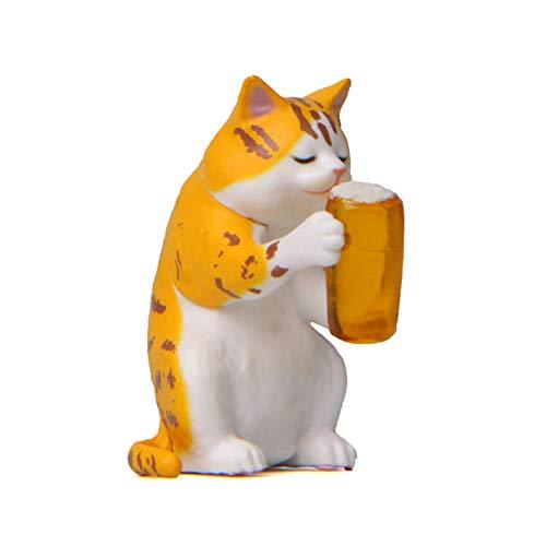 Clenp Figura de gato de cerveza en miniatura, modelo de bricolaje versión coreana para hornear, jardinería, paisajismo, decoración de muñecas, color amarillo, 4,1 cm x 2,4 cm