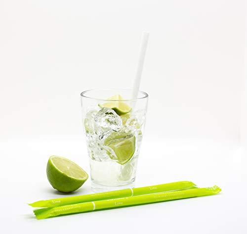 SORBOS essbare Trinkhalme - 8 Geschmacksrichtungen: Limette, Erdbeere, Zitrone, Ingwer, Zimt, Apfel, Schokolade & neutraler Geschmack - 200 Stück einzeln verpackt im Karton, Geschmack: Limette