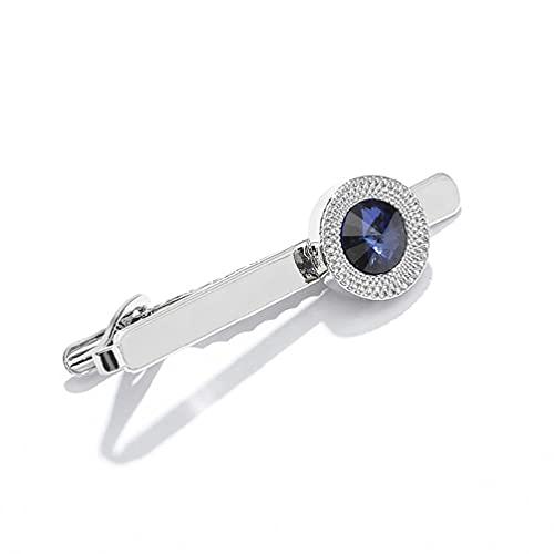 JINGDU - Clip de corbata de metal con cristal de plata para hombre, para boda, corbata, cierre de corbata, caja pequeña, clips de corbata para hombres
