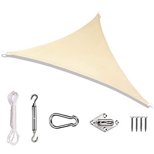 ZXC Toldo Vela de Sombra Toldo Triangular Vela Impermeable Protección Rayos 95% UV,Toldo Resistente e Lmpermeable,para Patio,Exteriores,Jardín(Color: Caqui)(Size:5 * 5 * 5m)