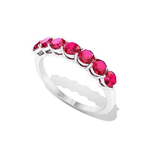 Anillo de boda hecho a mano de 1,05 quilates con cristal de rubí relleno de oro, grabado vintage rojo, anillo de media eternidad, 18K Oro blanco, Size:EU 70