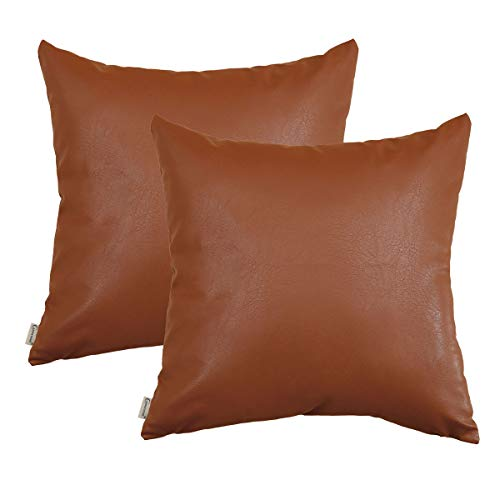 CARRIE HOME Brown Faux Leather Pillow Covers 18x18 Modern Farmhouse Throw Pillow Covers Scandinavian Home Decor for Sofa Couch and Bed, Set of 2