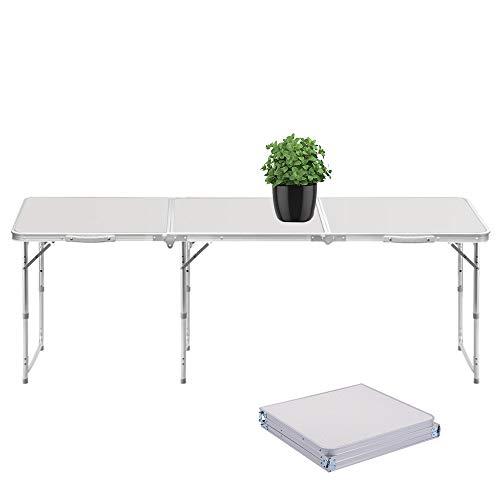 Sunreal Mesa Plegable portatil 1,82 m Ajustable Plegable para Camping/Cocina/Mesa de Trabajo para Picnic/Barbacoa/Cena al Aire Libre en Interiores
