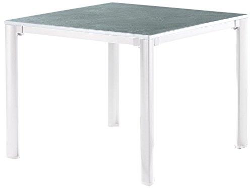 Sieger 1740-35 KT Exclusiv-Tisch mit Puroplan-Platte, 95 x 95 cm, Gestell Aluminium weiß, Tischplatte Schieferdekor hellgrau