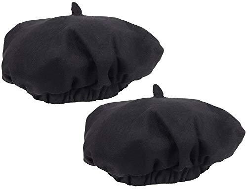 com-four® 2X Baskenmütze schwarz, für Alltag, Karneval, Fasching, Halloween & Motto-Partys, Béret in Einheitsgröße, tolles Modeaccessoire oder Kostüm