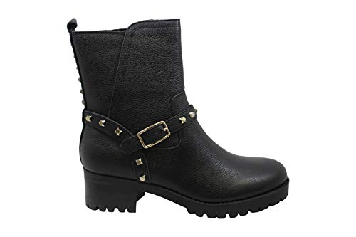 NINE WEST mujeres Renee cuero punta redonda tobillo moda botas, Negro (Negro), 35.5 EU