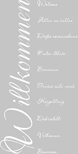 GRAZDesign Home Dekoration modern Welcome Velkommen - Bild für den Flur Willkommen Sprachen - Wandtattoo Flur Eingang Senkrecht / 114x57cm / 720108_57_010