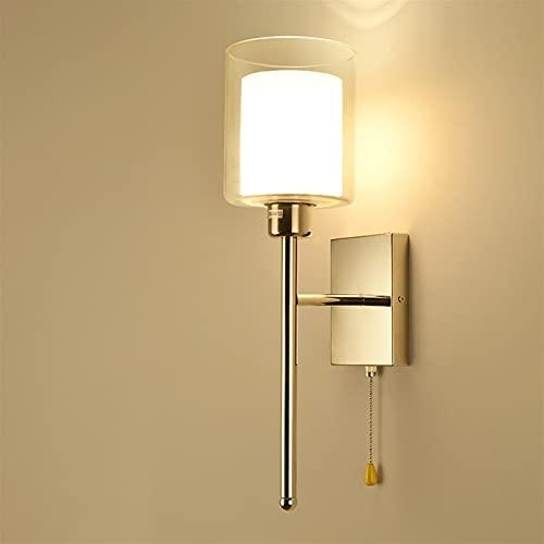 Lámpara de pared moderna con 1 luz, lámpara de pared con vidrio, lámpara de tocador de baño clásica, acabado en cromo cepillado, iluminación de cabecera de dormitorio, aplique de pared para dormitorio