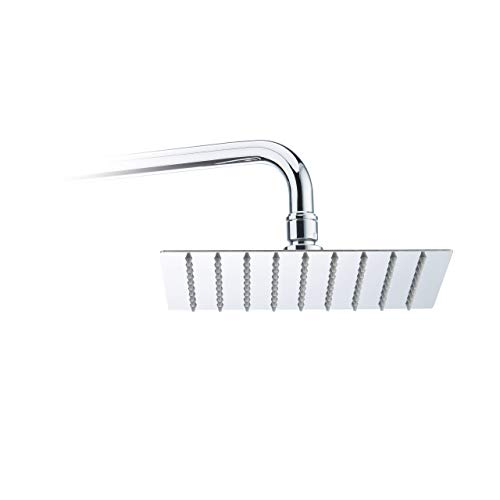Relaxdays Duschkopf Regendusche quadratisch, 200 mm, Edelstahl, Spiegeleffekt, Hochglanz, rain shower 1/2 Zoll, silber