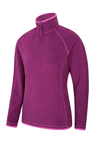 Mountain Warehouse Montana Womens Microfleece - Breathable Ladies Sweater, Quick Drying Pullover, Warm Fleece Jacket, Half Zip - for Winter Travelling, Outdoors Berry 6