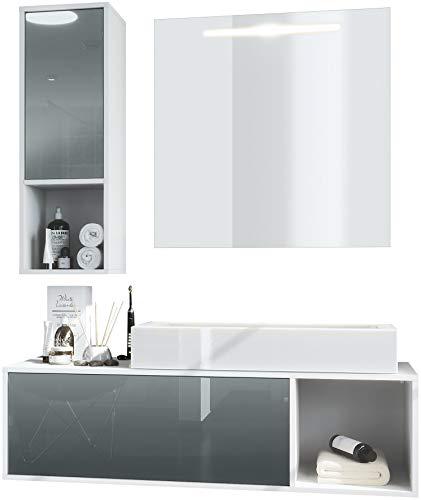 Vladon Badmöbel Komplettset La Costa, Korpus in Weiß matt/Fronten in Grau Hochglanz, mit Aufsatzwaschbecken und LED Spiegel
