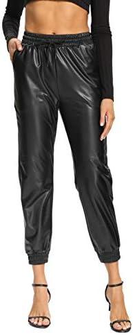 V VOCNI Women s Black Faux Leather Jogger Pants High Waist Drawstring Elastic Waist Winter Joggers product image
