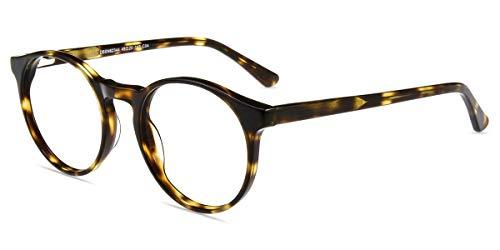 Firmoo Blaulichtfilter Brille Leoparden Anti UV400, Brille mit Blaulichtfilter ohne Sehstärke für Digitale Bildschirme, Runde Acetate Brillegestelle