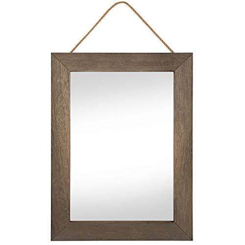 Emfogo Rustikaler Wandspiegel mit Holzrahmen, mit Seil zum Aufhängen, für Hausdekoration, für Eingangsbereich, Schlafzimmer, Badezimmer, Kommode (verwittertes Walnussholz)