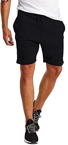 Björn Swensen Shorts Herren Kurze Hose Baumwolle Sommer Sport Jogginghose Männer Sporthose Kurze Freizeithose Trainingshose Fitnesshose Laufshorts Bermuda Slim Fit Fit BS3003 Schwarz XX-Large
