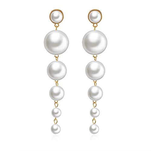 Long Pearl Dangle Earrings, Fashionable Big Pearls Drop Earrings for Women Girls