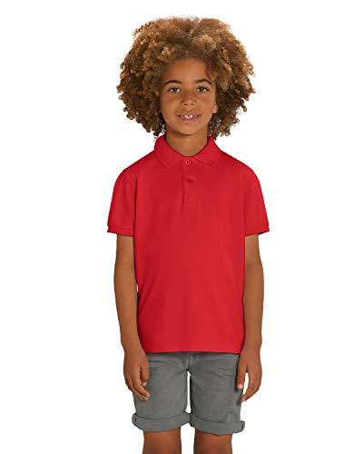 Hilltop Hochwertiges Kinder Poloshirt aus 100% Bio-Baumwolle für Mädchen und Jungen. Eignet sich hervorragend zum bedrucken. (z.B.: mit Transfer-Folien/Textilfolien), Size:122/128, Color:Red