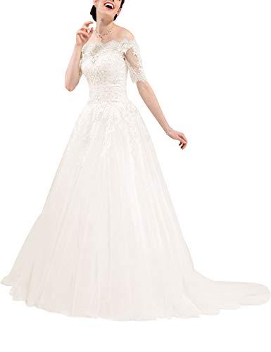 HUINI Brautkleid Spitze Prinzessin mit Ärmel Off Shoulder Hochzeitskleider Ballkleider Abendkleider Schlichte A-Linie Elfenbein 32