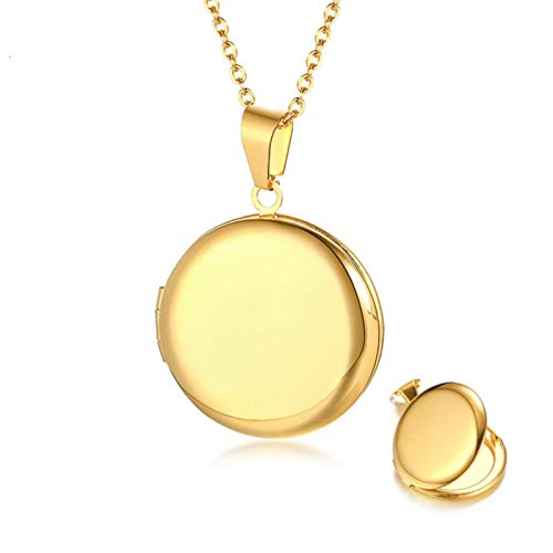 DOOLY Since locket pendant necklace women photos pictures engraved stainless steel round circle of Mrs. Mom gifts