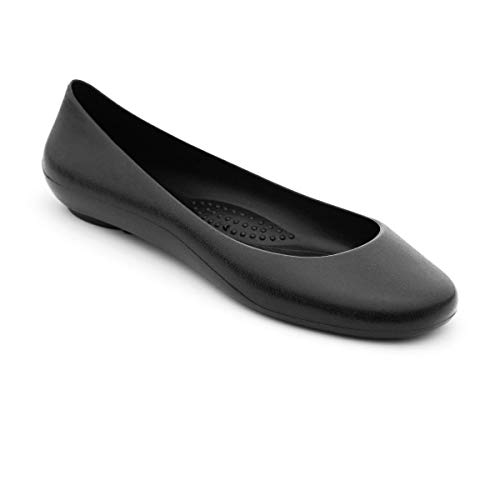 OKABASHI Women's Georgia Soft Jelly Ballet Flats (Black, 8) | Daily Slip-On Shoes w/Arch Support | Helps Relieve Foot Soreness & Pain