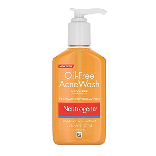 Neutrogena Oil Free Acne Facial Cleanser with Salicylic Acid Acne Treatment Medicine and Vitamin C, Acne Fighting Cleansing Face Wash for Acne Prone Skin, with Salicylic Acid, 6 fl. oz