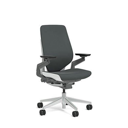 Steelcase Gesture Task Chair: Shell Back - Platinum Metallic Frame/Base/Seagull Accent - Standard...