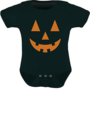 Lindo body infantil de abóbora para Halloween Jack O' Lanterna, Short/Black, 18 Months