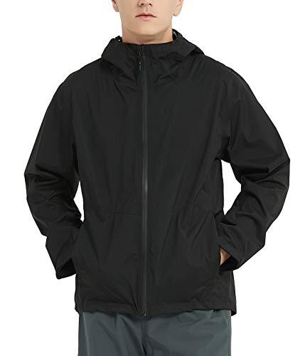 TOKY Heren Waterdichte Regenjas Windbreaker Lichtgewicht met 3 Zip Pockets Hooded Regenjas voor buiten