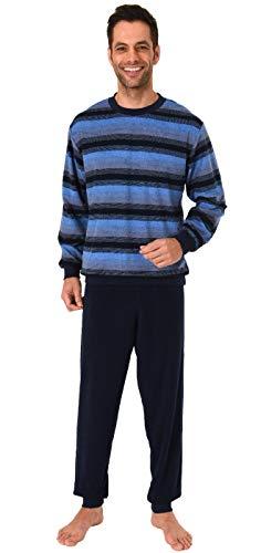 Herren Frottee Pyjama Schlafanzug mit Bündchen in Streifenoptik - 291 101 93 755, Farbe:Marine, Größe2:52