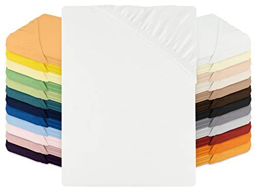 schlafgut Spannbetttuch Jersey aus 100% Baumwolle - Steghöhe ca. 30 cm - in 24 Farben - in 3 Größen, 180-200 x 200 cm, weiß