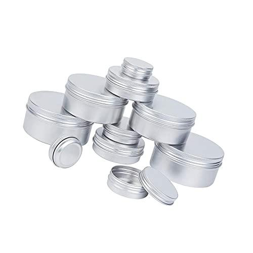 Contenedores de bálsamo labial, de aluminio, con tapa de rosca, redondos, de metal, 20 unidades