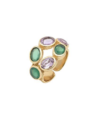 VIDAL & VIDAL Anillo Oro Ajustable Piedras Verdes