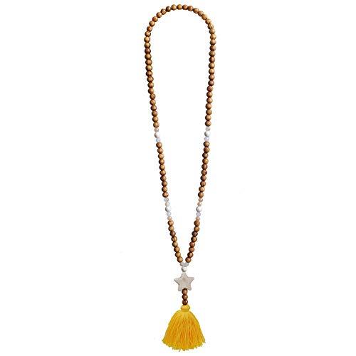 TININNA Collar Largo de Cuentas de Madera con Flecos Collares Mujer Plata Colgante Moda Simple Colgante de Concha Collar Mujer Joyería Creativo Playa Regalo Amarillo