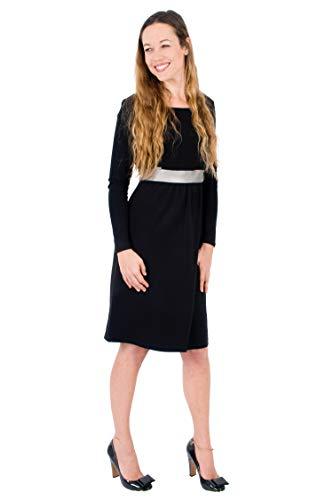 Mania Stillkleid Lilly Glamour Organic, Elegante Stillmode mit Eco-Leder-Saum, ermöglicht diskretes...