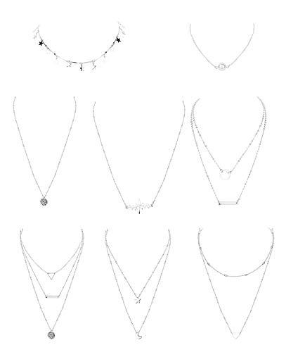 Milacolato Collar de Gargantilla En Capas Simple para Mujeres Niñas Sexy Cadena Larga Y Collar Bar Estrella Perla Collar Colgante