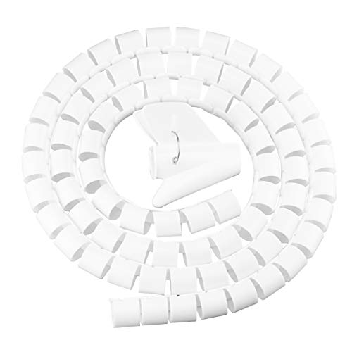 Mingtongli Draht-Speicher Rohrbisssicher Kabel-Organisator Spiralschutz Kabel-Wind, Weiß, 10mmx1.5m, Clamp 10mm