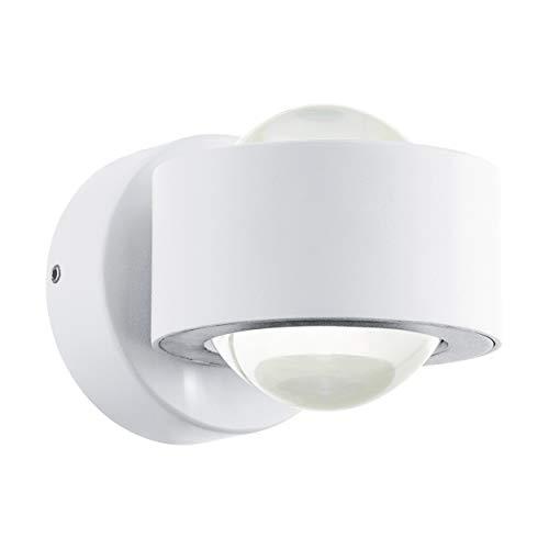 EGLO LED Wandlampe Ono 2, 2 flammige Wandleuchte modern, Wandstrahler innen aus Aluminium und Kunststoff, Wohnzimmerlampe in Weiß, Klar, LED Flurlampe mit Up and Down Light in warmweiß