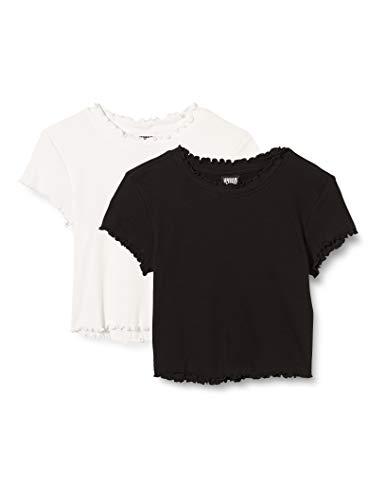 Urban Classics Damen Ladies Cropped Rib Tee 2-Pack T-Shirt, Black/White, S
