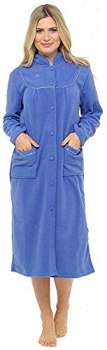 Bata de tejido polar con manga larga, botones y bolsillos en la parte delantera para mujer Azul azul oscuro 56