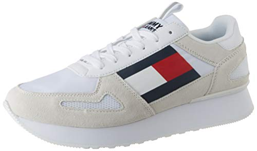Tommy Hilfiger Tommy Jeans Lifestyle Runner, Zapatillas para Hombre, Blanco (White Ybs), 42 EU