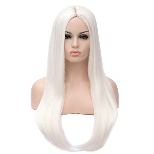 Mersi Long White Wigs for Women Straight SyntheticWigs Hair Wig Fashion Cute Cosplay Wigs for Party Halloween S034WH