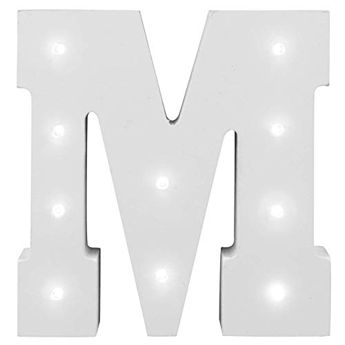 Decorative Light Up Letras Tu Nombre en las Luces,KINGCOO Batería de Madera Alfabeto Letter Signs Decorativa con Luz LED,Party Wedding Decorations,Blanco (M)