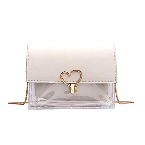 For Sale! Ladies Small Crossbody Bag Heart Shaped Lock Clear Cross Body Leather Transparent Shoulder...