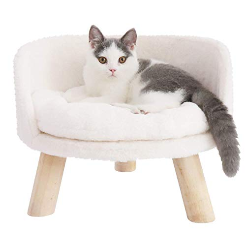 Bingopaw Elevated Cat Beds, Cat Stool Bed Nordic Pet House Durable Round Cat Chair Comfortable Cushion Sofa with Wood Legs for Small Dog Kitten